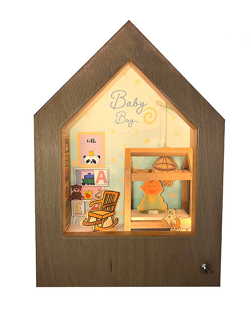 Welcome Baby Boy! | Wooden Story Light Box