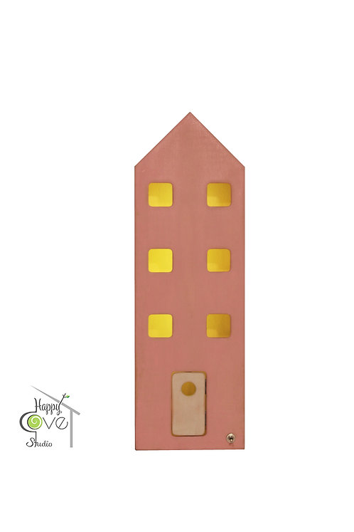 Central House | Wooden Lamp with Pink Finish | Pembe Bitişli Ahşap Ev Lamba