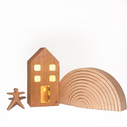 Casa Wooden Lamp | Mini Ev Lamba| Natural