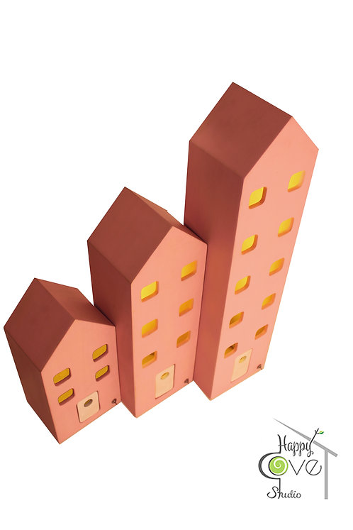 City Lights | Trio Wooden Houses Lamp Set | Üçlü Ahşap Lamba Seti