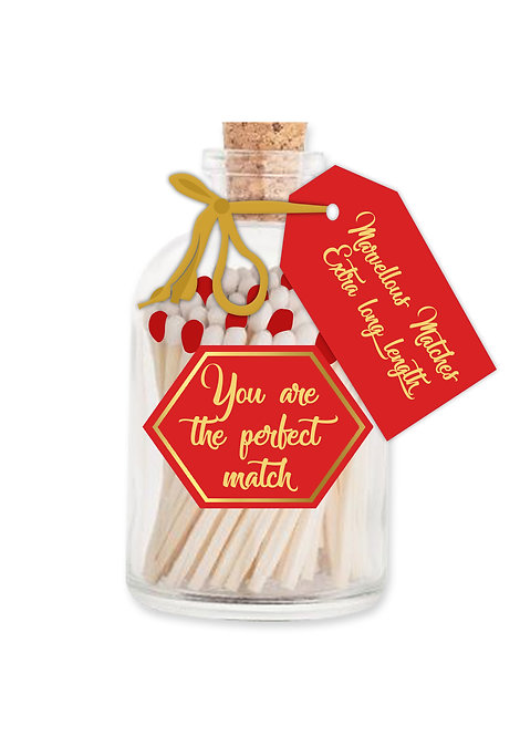 You are the Perfect Match - Extra Long Matches in Glass Jar