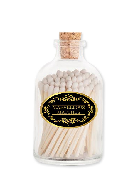 Marvellous Black & Gold Matches - Extra Long Matches in Glass Jar