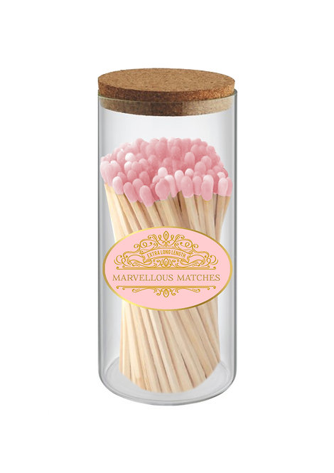 Pastel Pink & Gold - Extra Long Matches in Tall Slim Jar