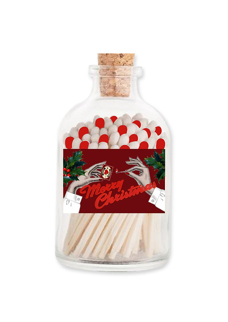 Extra Long Matches in Glass Jar - Christmas Holly