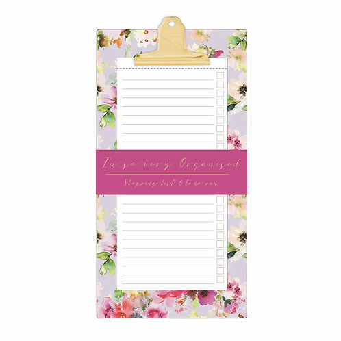 Shopping and To Do List Clipboard - Lilac Bloom 'So Very Organised'