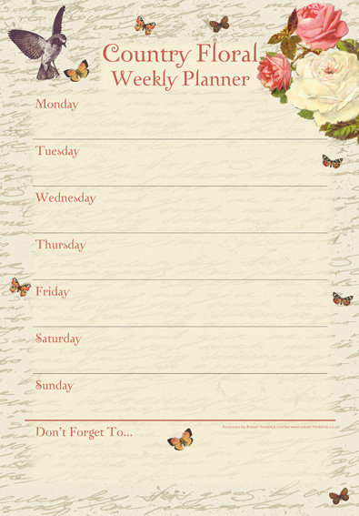 A4 Weekly Planner Pad - Country Floral