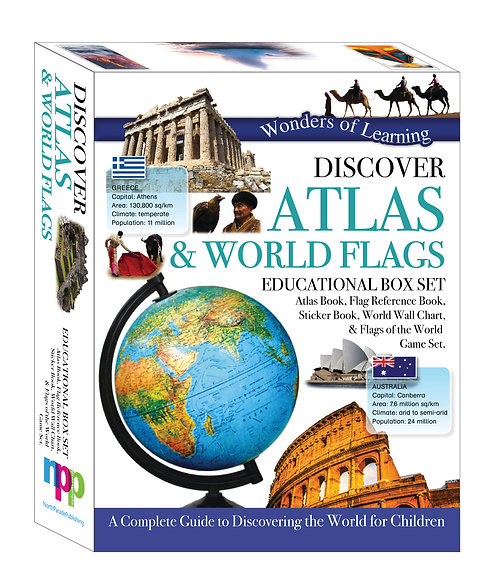 Discover Atlas & World Flags - Wonders of Learning Box Set