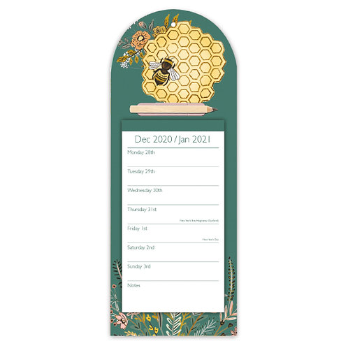 2021 Beekeeper Magnetic Fridge Calendar Pad and Pencil