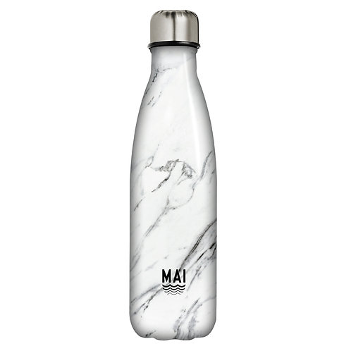 Large 1 Litre Water Bottle - Marble White