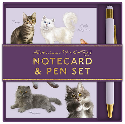 Patricia MacCarthy Cats Notecard & Pen Set