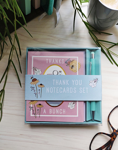Thank You Notecard and Pen Set - Beekeeper