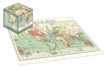 Vintage World Map - 100 Piece Jigsaw Puzzle Cube