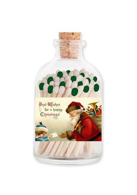 Extra Long Matches in Glass Jar - Christmas Santa