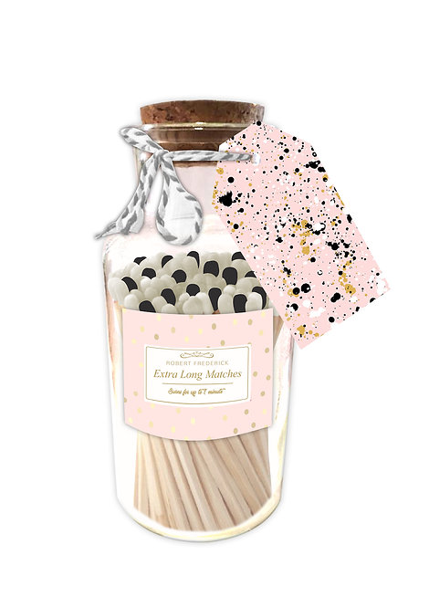 Marvellous Pastel Pink Matches - Extra Long Matches in Glass Jar