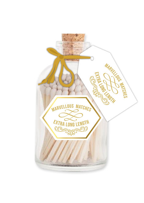 Marvellous White & Gold Matches - Extra Long Matches in Glass Jar