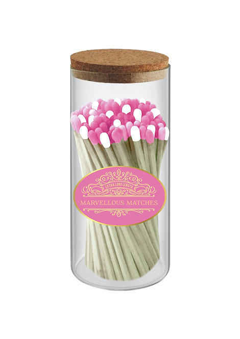 Hot Pink & Gold - Extra Long Matches in Tall Slim Jar