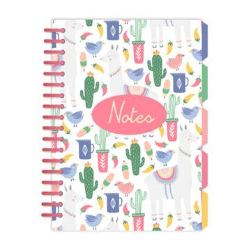 A5 Notebook with Dividers - Llama Adventures