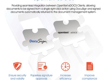 Blue Car Technologies' market leading DocuSign Connector for OpenText eDOCS