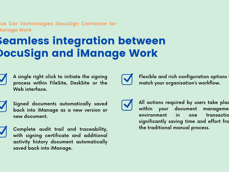 Blue Car Technologies DocuSign Connector for iManage Work
