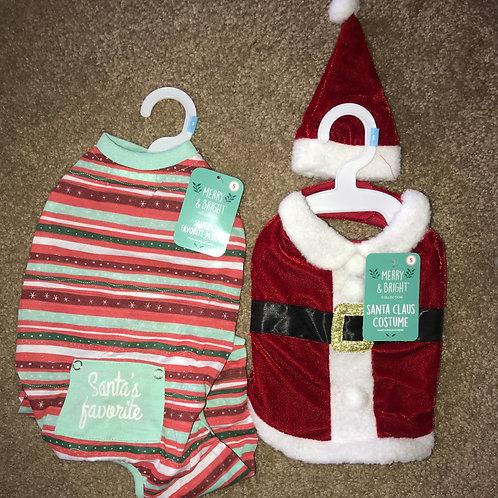 Small Santa Costume & Holiday Jammies Combo