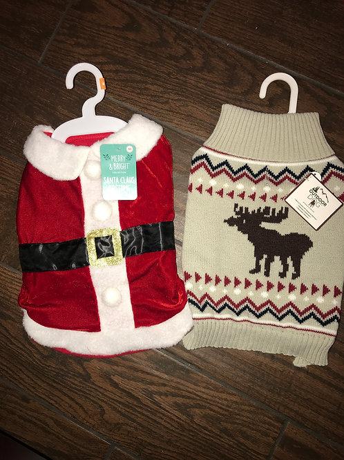 Medium Santa Costume & Moose Sweater Combo