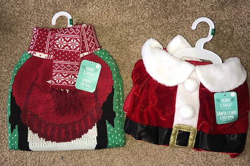 Large Santa Costume and Penguin Sweater Combo