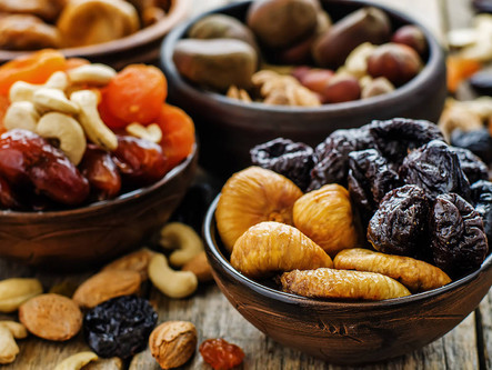 Dried Fruits fit in the small boxes.