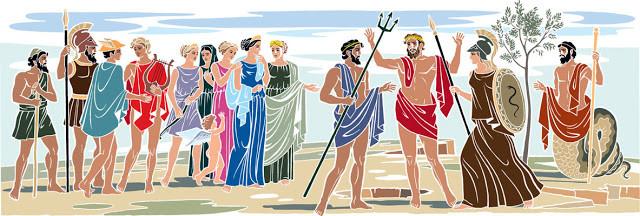 Η διαμάχη Αθηνάς και Ποσειδώνα, παρουσία Θεών | Εικονογράφηση: Γιάννης Στεφανίδης