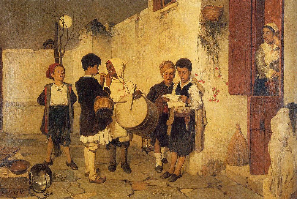 """Το έργο του Νικηφόρου Λύτρα """"Τα κάλαντα"""" αποτελεί χαρακτηριστικό δείγμα της νεοελληνικής αγροτικής ηθογραφίας και αποτυπώνει μια ομάδα μικρών παιδιών ντυμένα με παραδοσιακά ενδύματα, που κρατούν παραδοσιακά όργανα και ψάλουν τα χριστουγεννιάτικα κάλαντα, στην αυλή ενός παλιού αγροτικού σπιτιού."""