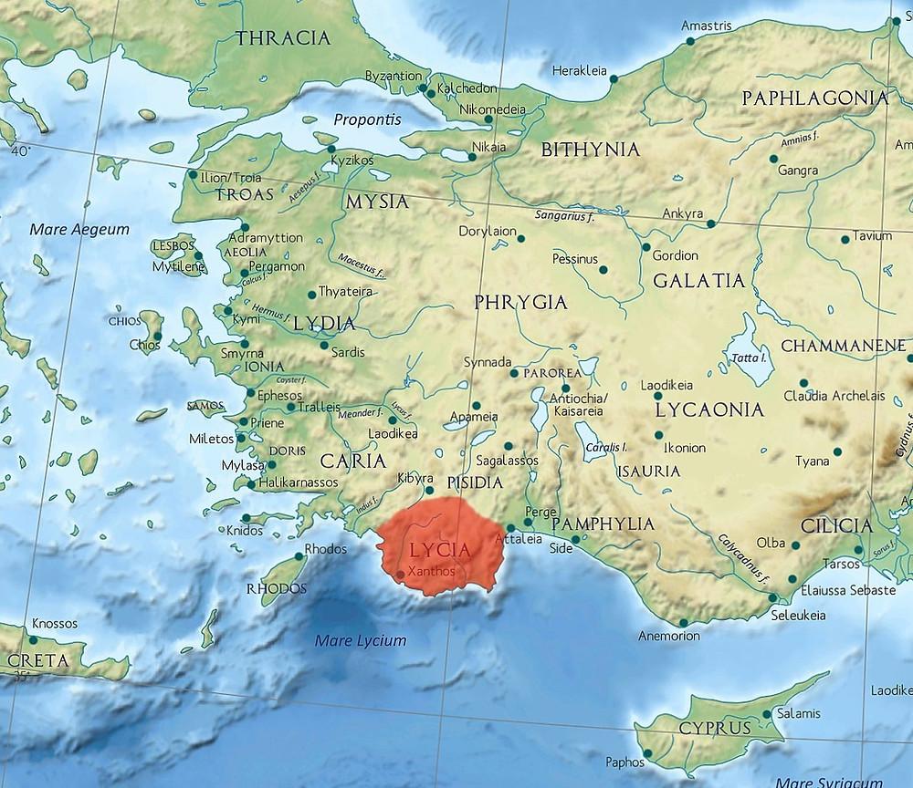 Στον χάρτη απεικονίζεται η θέση της Μάκρης στη Μικρά Ασία - μητέρα πατρίδα της σημερινής Νέας Μάκρης