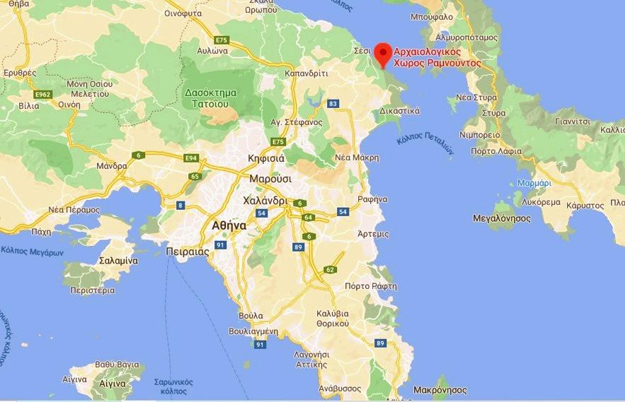 αρχαιολογικός χώρος ραμνούντος χάρτης