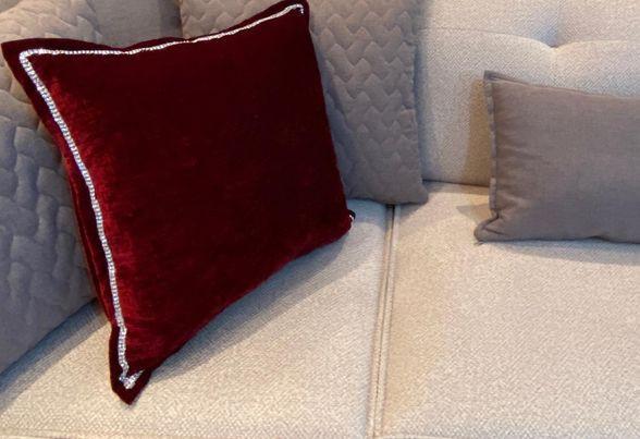 Μαξιλάρες βελούδινες Oxford 50x50 custom made με strass διακοσμητικό | La Casa στη Νέα Μάκρη