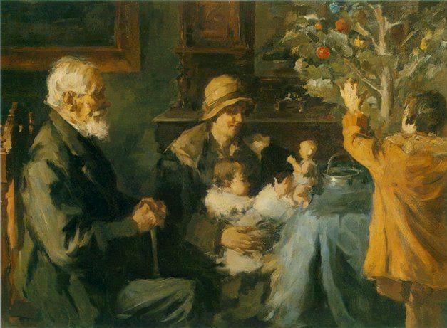 Το «Χριστουγεννιάτικο δέντρο», έργο του Σπύρου Βικάτου.  Στο σαλόνι ενός αστικού σπιτιού όπου μία οικογένεια κάθεται δίπλα στο χριστουγεννιάτικο δέντρο.
