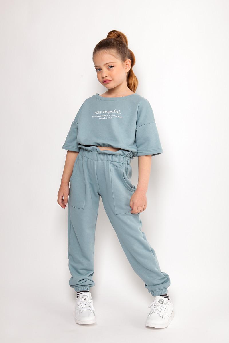 Σετ μπλούζα cropped με λάστιχο στη μέση και παντελόνι ψηλόμεσο