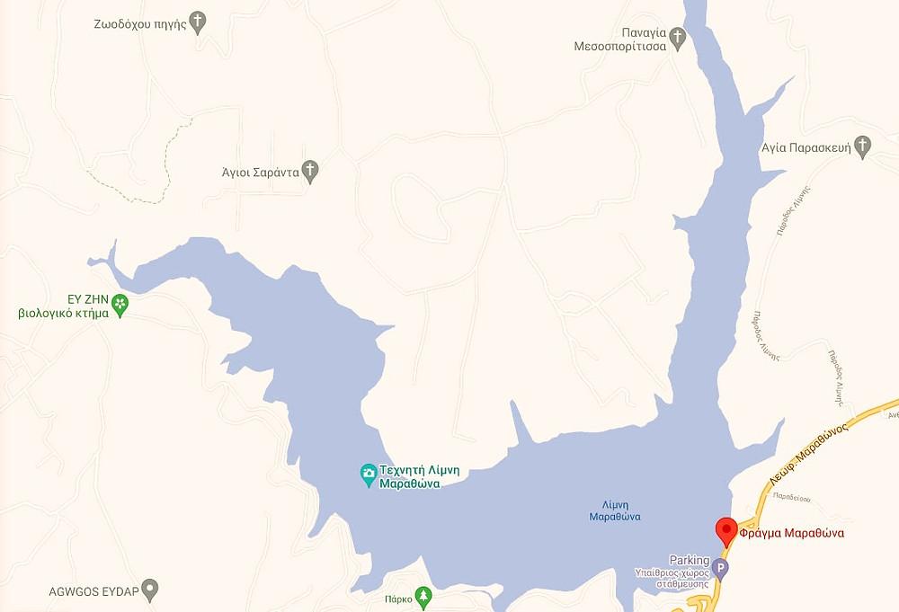χάρτης λίμνη Μαραθώνα