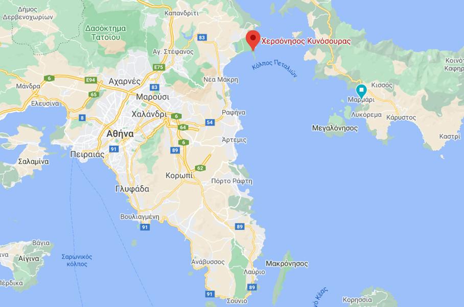 Η Χερσόνησος Κυνόσουρας, στην βόρειοανατολική πλευρά της Αττικής