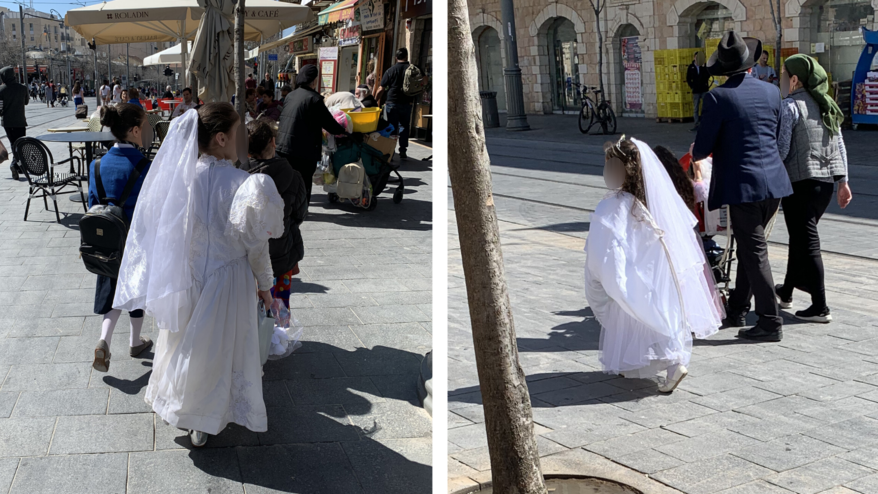 Two little girls dressed in a bride's costume for Purim.