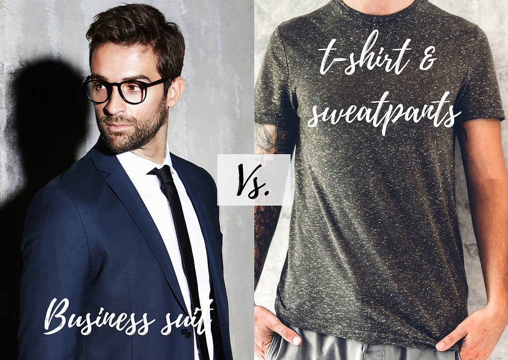 one picture of a man in a business suit and glasses, the other is of a man in a t-shirt and slouchy pants