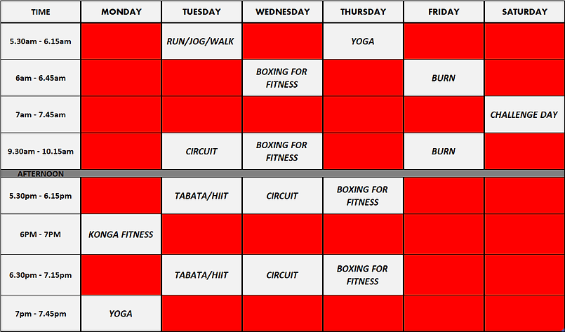 class timetable with run group and doubl