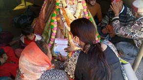 Information Pamphlets distribution of Aash Child Development Center in Pandals of Devta's