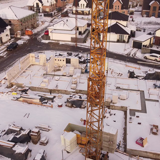 Baustelle im Schnee am 31.1.2021
