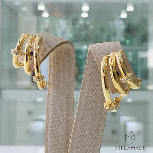 BRINCOS EAR HOOK, Banhado a Ouro