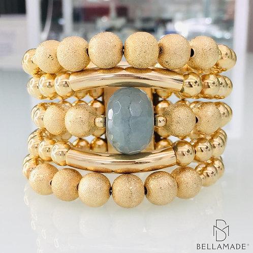 BRACELETE, COM ESFERAS, Pedra Jade Celeste, Banhados a Ouro