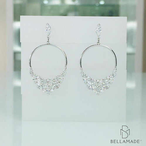 BRINCOS SWAROVSKI LADY FRONTAL HOOP PIERCED EARRINGS, Banhado Ródio