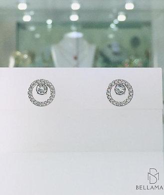 BRINCOS SWAROVSKI CREATIVITY CIRCLE PIERCED EARRINGS, Banhado Ródio