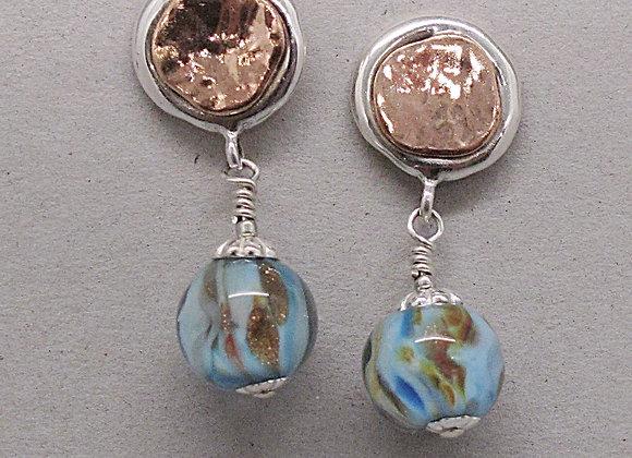 Glass earrings on sterling/copper ear wires