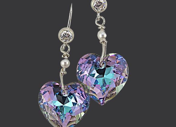Heart Earrings Amethyst Shimmer