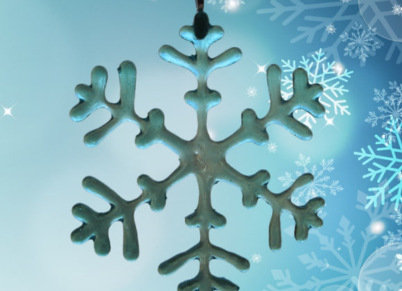 Fused Glass Snowflake, Turquoise