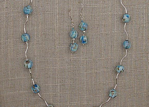 Wavy Bead Necklace/Earring Set