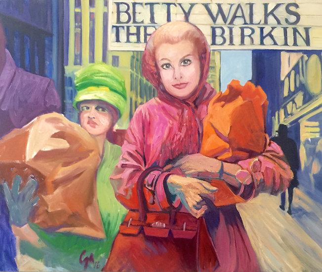 Betty walks her Birkin   Oil Painting  Feeling like Marilyn Munroe platinum hair Betty flaunts her wealthy status Hermes bag